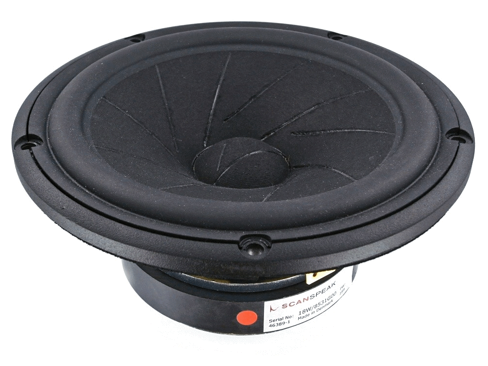 18W/8531G00 -  6.5 inch woofer low loss linear suspension sliced paper cone